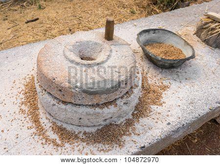 Ancient grain hand grinding millstones.