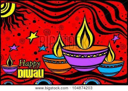 Happy Diwali diya in Indian art style
