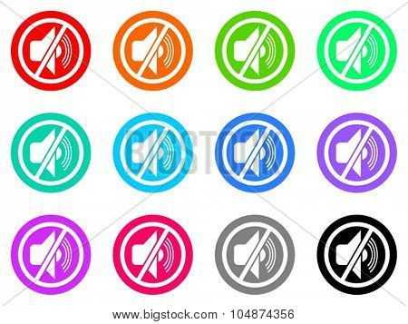 mute flat design modern vector circle icons colorful set for web and mobile app isolated on white background