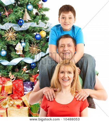 Family And Christmas Tree
