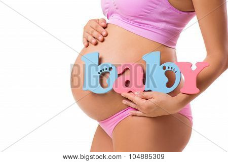 Determine The Sex Of The Baby During Pregnancy. Boy, Girl,  Or Twins. Horizontal Close-up Of A Pregn