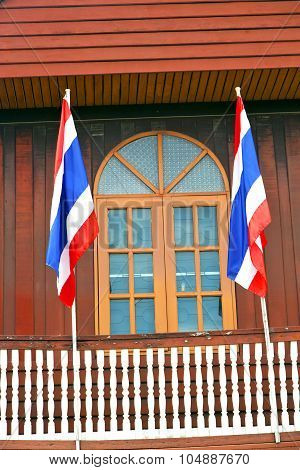 Temple   In  Bangkok Thailand Incision   Terrace Waving Flag