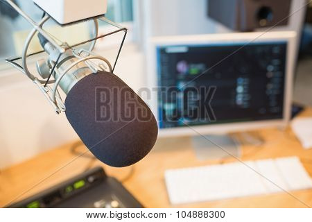 Close-up of microphone in radio station