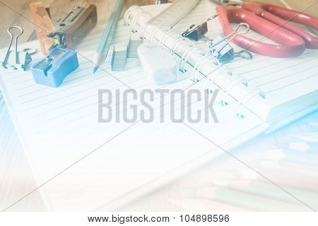Abstract School And Office Supplies On Wood Background. Back To School. Made With Color Filters,blur