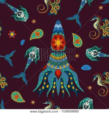 Hand drawn Ornamental Mermaid, sea-horse and calmar.  Fairy-tale vector character of mermaid. Doodle Mermaid. poster
