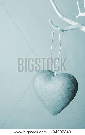 Heart Hanging From Tree - Wintery Blues