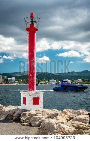 Lighthouse At The San Antonio De Portmany Coast. Balearic Islands, Ibiza. Spain