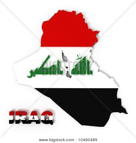 Iraq, Map with Flag, Isolated on White, Clipping Path Included