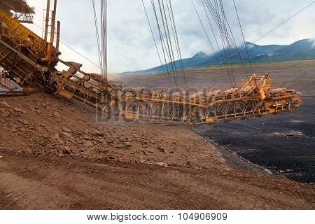 A giant bucket wheel excavator at work in a lignite pit mine