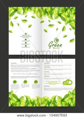 Creative stylish Brochure, Flyer, Banner or Template design with fresh green leaves for Nature concept.