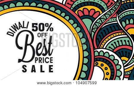Colourful floral design decorated, Sale Poster, Banner or Flyer with best discount offer for Indian Festival of Lights, Happy Diwali celebration.