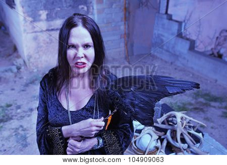 Angry Witch Near Altar