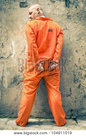 Dead Man Walking - Prisoner With Handcuffs Standing Proud