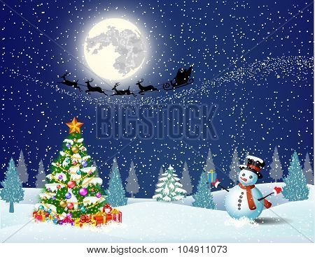 Cute snowman on the background of night sky