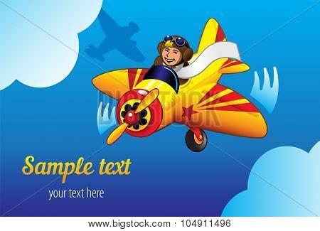 Happy pilot flying plane. Vector illustration.