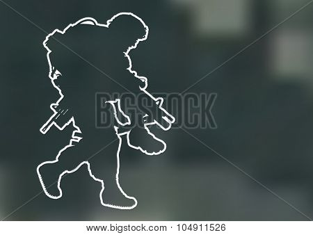 Vector outline silhouette of US soldier carrying a wounded soldier