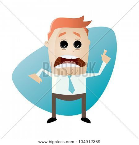 worried businessman pointing with finger