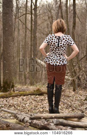 Alone female in forest