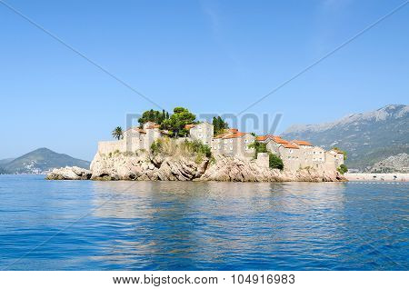 Beautiful view of the Island of St. Stephen (Sveti Stefan) Montenegro poster