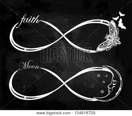 2 Infinity linear illustrations. Mini set with moon and moth.