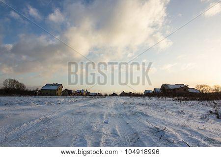 winter landscape of snowy village