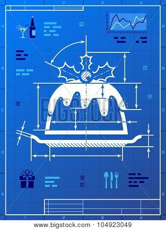Christmas Cake Like Blueprint Drawing