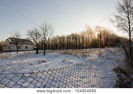 winter landscape of village