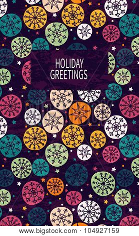 Card with multicolored snowflakes.