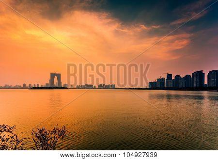 Dust of the JinJiHu lake and the gate of East