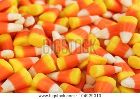 Halloween Candy Corns Background, Close Up