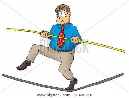 Executive walking a tightrope.