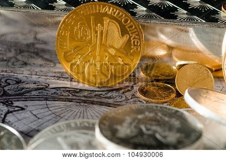 Austrian Gold Coin Philharmonic With Silver Bars & Coins