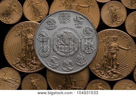 Mexican Silver Coat Of Arms Over Us Gold Eagle Coins