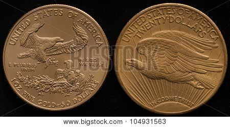 New Us Gold Eagle Coin Vs. Old Us Gold Double Eagle Coin