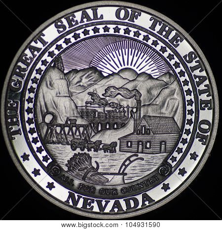 Seal Of Nevada On Silver Coin