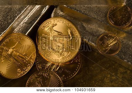 Richly Textured American Gold Eagles With Silver Bars