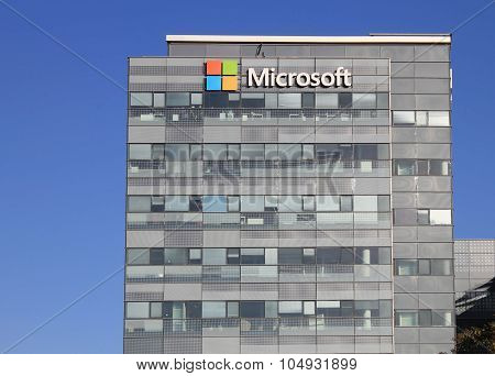 Microsoft Corporation Office Building Facade With Logo In Herzliya, Israel.
