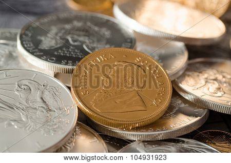 South Africa Gold Coin Kugurand With Us Silver Eagle Coins