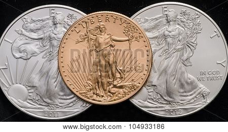 Us Gold Eagle On 2 Us Silver Eagles W/ Black Background