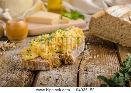 Scrambled Eggs On Homemade Bread