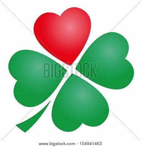 Four Leaved Clover Heart
