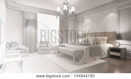 CAD planning of hotel room from wiremesh frame to 3D Rendering