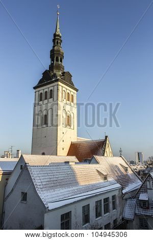 St. Nicholas' Church's spire in Tallinn Estonia poster