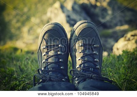 Trekking boots  in the mountains