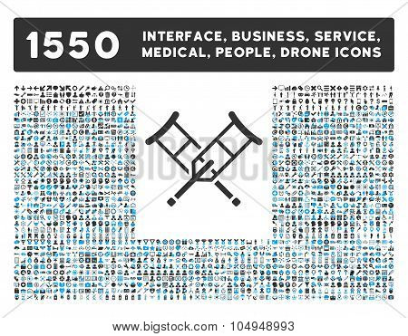 Crutches and other web interface, business tools, people poses, medical service glyph icons. Style is flat symbols, bicolored, rounded angles, white background. poster