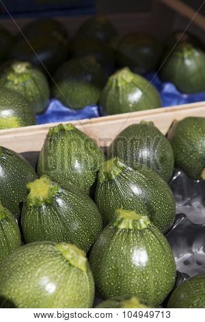 Green round courgettes lined up in a crate