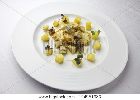 Fillet Of Turbot With Mushrooms And Potatoes