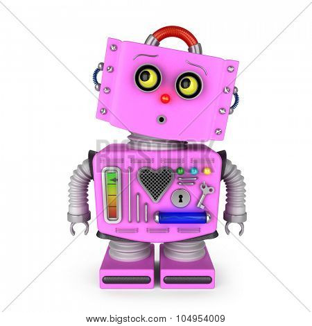 Pink toy robot girl is looking curiously into upper left corner over white background