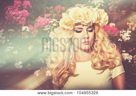 Romantic Portrait Girl In Sunlight
