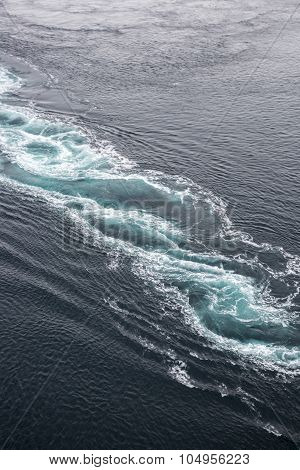 Close up up on abstract shapes of the whirlpools of the maelstrom of Saltstraumen, near Bodo, Nordland Norway
